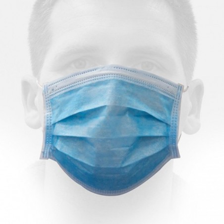 Mascarilla Quirúrgica, Hipoalérgica, azul, caja 50 Unidades.