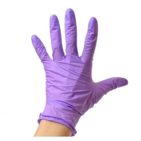 Guante Nitrilo Violeta sin polvo, desechable. Caja 100 Uds