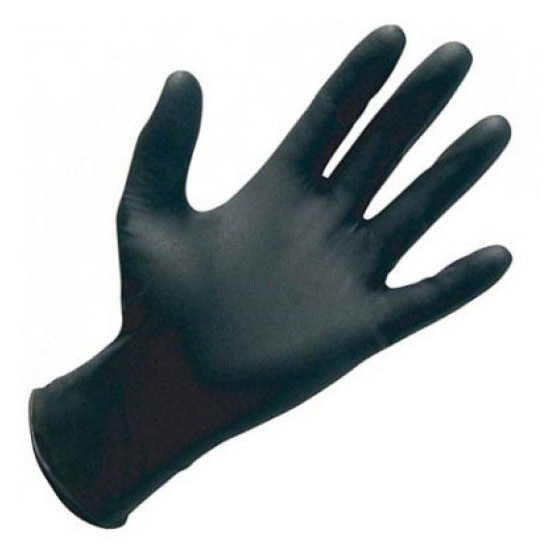 Guante Nitrilo Negro sin polvo, desechable. Caja 100 Uds