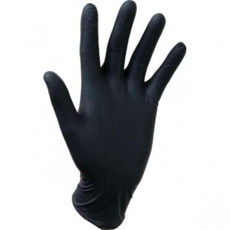 Guante Nitrilo Negro Alta Protección sin polvo, desechable. Caja 100 Uds