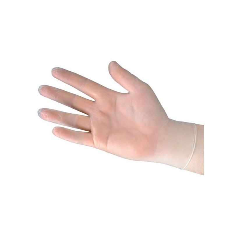 Guante Vinilo Transparente sin polvo, desechable. Caja 100 Uds.